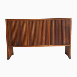 Black Glass & Walnut Credenza from Grissinata, 1940s
