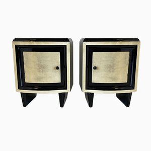 Art Deco Pergament Nachttische, 1930er, 2er Set