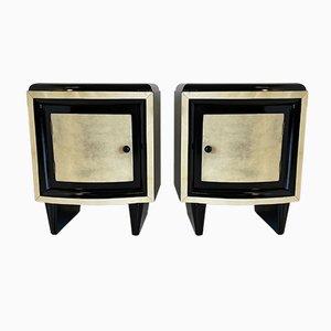 Comodini Art Deco in pergamena, XX secolo, anni '30, set di 2