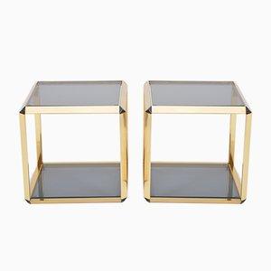 Italienische Vintage Beistelltische mit goldenem Rand aus Metall & Glas, 2er Set