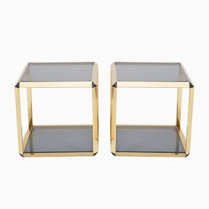 Vintage Italian Gold-Rimmed Metal and Glass Side Tables, Set of 2