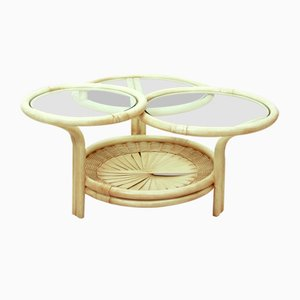 German Rattan & Glass Coffee Table by Flechtatelier Schütz, 1970s
