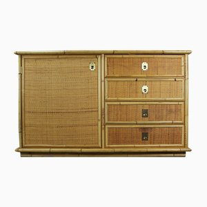 Italian Rattan and Bamboo Sideboard by Dal Vera, 1970