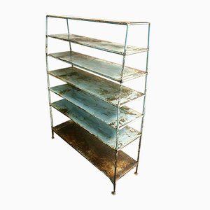 Antique Industrial Blue Shelving Unit