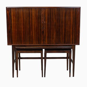 Rosewood Tambour Drinks Cabinet by Kurt Østervig for Kp Møbler, Set of 3