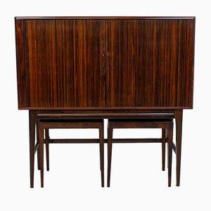 Rosewood Tambour Drinks Cabinet by Kurt Østervig for Kp Møbler, Set of 3