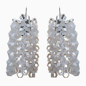 Deckenlampen aus verchromtem Eisen & Glas von Mazzega Murano, 1960er, 2er Set