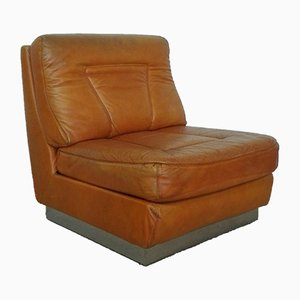 Camel Leather Lounge Chair, 1970s