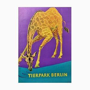 Zoo Poster mit Giraffe von Tierpark Berlin, 1970er