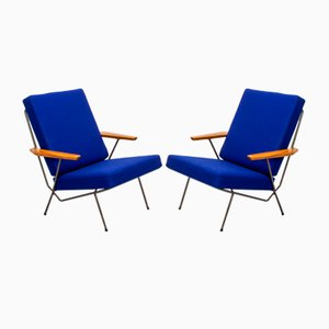 Tubular Steel & Cherry Armchairs, 1950s, Set of 2