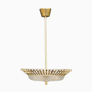 Mid-Century Brass, Pearl & Glass Ceiling Light