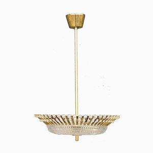Mid-Century Messing, Perlglanz & Glas Deckenlampe