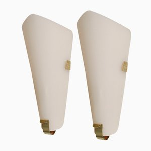 Mid-Century Acrylic and Brass Sconces, Set of 2