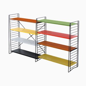 Free Standing Colored Room Divider & Floor Rack by A. D. Dekker for Tomado, 1950s, Set of 12