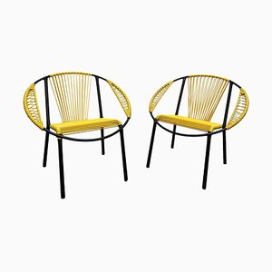 Gastone Rinaldi Style Black Metal and Yellow PVC Armchairs, Italy, 1960, Set of 2