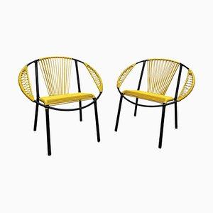 Gelbe Gastone Rinaldi Stühle aus Schwarzem Metall und Gelbem PVC, Italien, 1960, 2er Set
