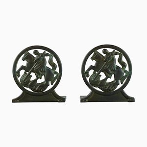 Art Deco Bookends in Disko Metal by Just Andersen, 1940s, Set of 2