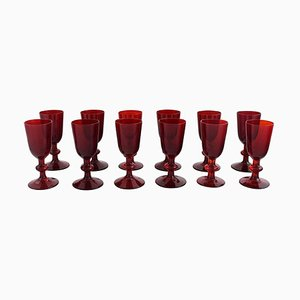 Liqueur Glasses in Red Mouth Blown Art Glass by Monica Bratt for Reijmyre, Set of 12