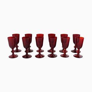 Liqueur Glasses in Red Mouth Blown Art Glass by Monica Bratt for Reijmyre, Set of 12