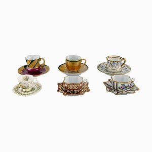 Porcelain Mocha Cups from Limoges, France and Royal Doulton, England, Set of 6