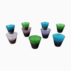 Mambo Drinking Glasses in Mouth Blown Art Glass by Lennart Rosén for Reijmyre, Set of 9
