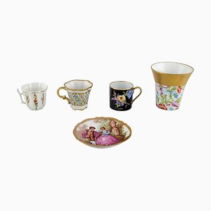 Tableware & Vase Set in Hand-Painted Porcelain from Limoges, France, Set of 5