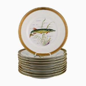 Porcelain Fish Plates with Hand-Painted Fish Motifs from Royal Copenhagen, Set of 10