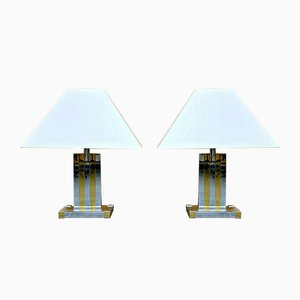 Brass & Chrome Table Lamps by Willy Rizzo for Lumica, 1960s, Set of 2