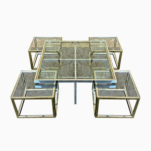 Large Chrome & Brass Modular Coffee Table or Nesting Table Set by Maison Jean Charles, 1970s