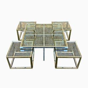 Tavolino da caffè o tavolino modulare in ottone e placcato in cromo di Maison Jean Charles, anni '70