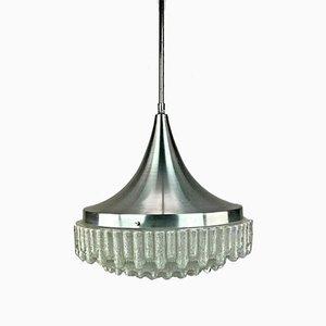 Space Age Chrome & Bubble Glass Pendant Lamp, 1960s