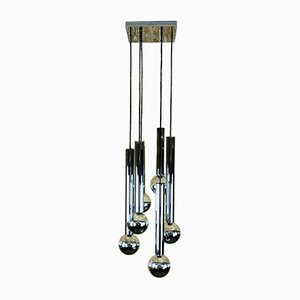 Mid-Century Cascading Chrome 6-Light Ceiling Lamp by Motoko Ishii for Staff