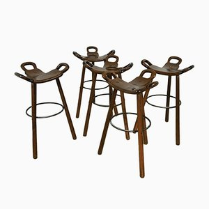 Mid-Century Swedish Bar Stools by Carl Malmsten, Set of 5