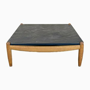 Oak Coffee Table with Slate Top from Carl Straub, 1960s