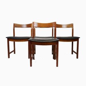 Mid-Century Teak and Vinyl Dining Chairs, Set of 4