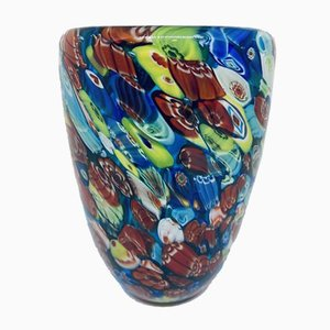 Jarrón Millefiori italiano vintage de cristal de Murano
