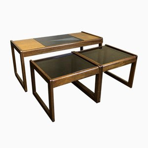 Mid-Century Danish Teak & Glass Quadrille Nesting Tables, Set of 3