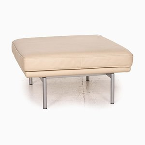 Vintage Beige Gray Leather Living Platform Stool from Walter Knoll