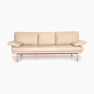 Vintage Beige Leather Living Platform 3-Seater Sofa from Walter Knoll