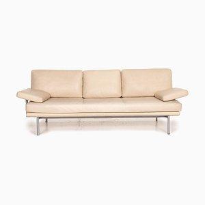 Vintage Beiges Leder 3-Sitzer Sofa von Walter Knoll