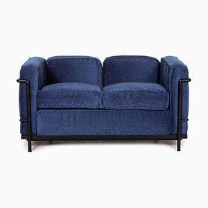 Blaues LC2 2-Sitzer Sofa von Le Corbusier für Cassina