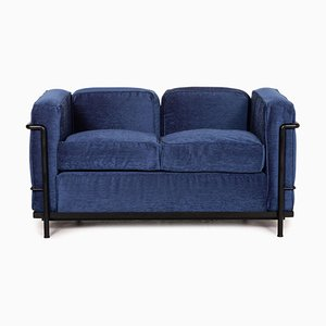 Blue Fabric LC2 2-Seater Sofa by Le Corbusier for Cassina