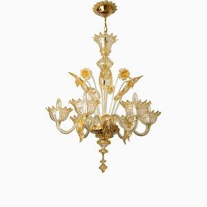 Large Venetian Gilded Murano Glass Chandelier by Barovier, 1950s