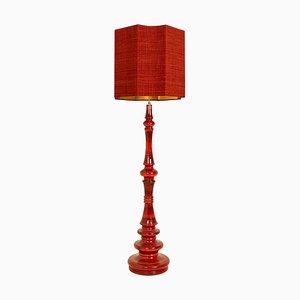 Große Vintage Stehlampe aus Keramik mit neuem kundenspezifischen Lampenschirm aus Seide von René Houben für COR