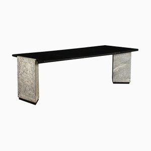 Italienischer Schreibtisch aus Granit, Lackiertem Holz & Leder, 1980er