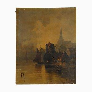 Porto Normanno, Oil on Canvas