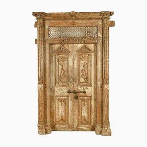 Große indische Vintage Tür aus geschnitztem Holz