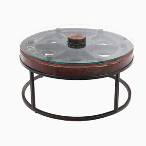 Vintage Wooden Coffee Table with Glass Top and Iron Legs