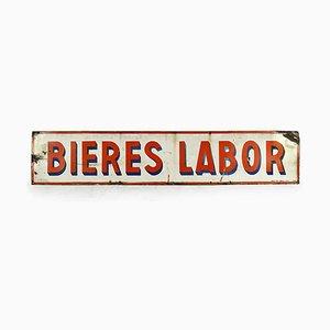 Vintage Emaille Werbeschild Bières Labor