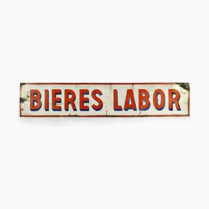 Vintage Enamel Sign Advertising Bières Labor